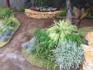 花壇と園庭を芝生で区切る植栽